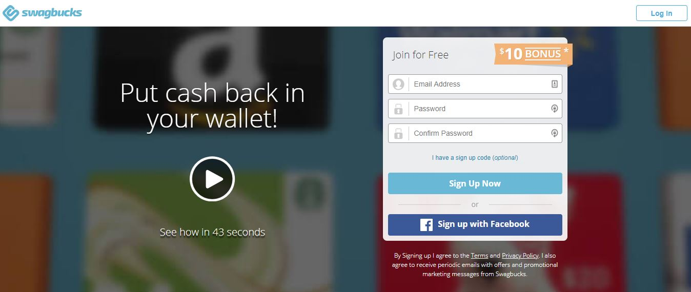 earn paypal gift cards with swagbucks online